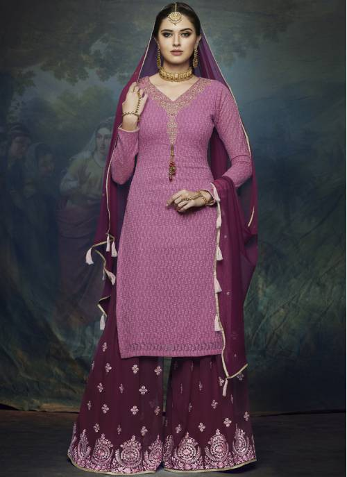 Pink Georgette Embroidered Straight Palazzo Suit