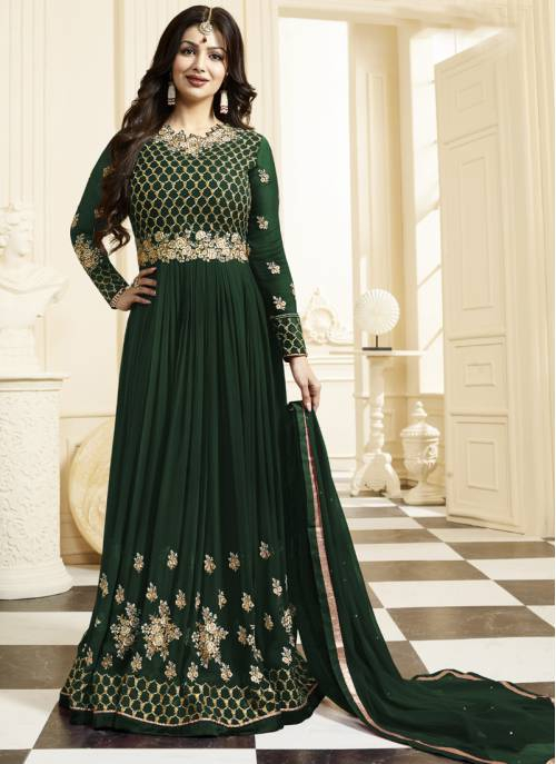 Craftsvilla Green Color Georgette Embroidered Semi-stitched Circular Anarkali Suit