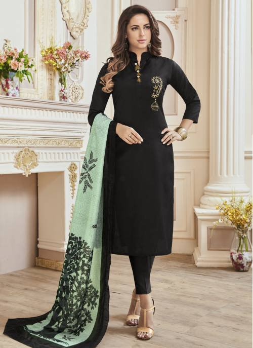 Craftsvilla Black Color Cotton Embroidered Fully Stitched Salwar Suit