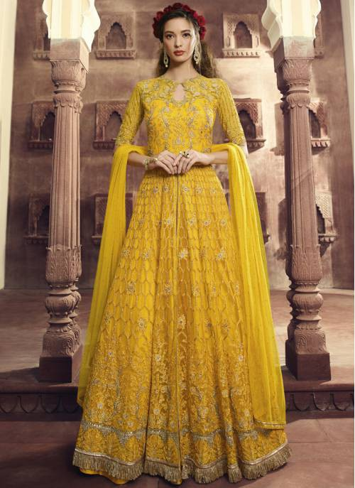 Yellow Net Embroidered Semi-stitched Circular Anarkali Suit