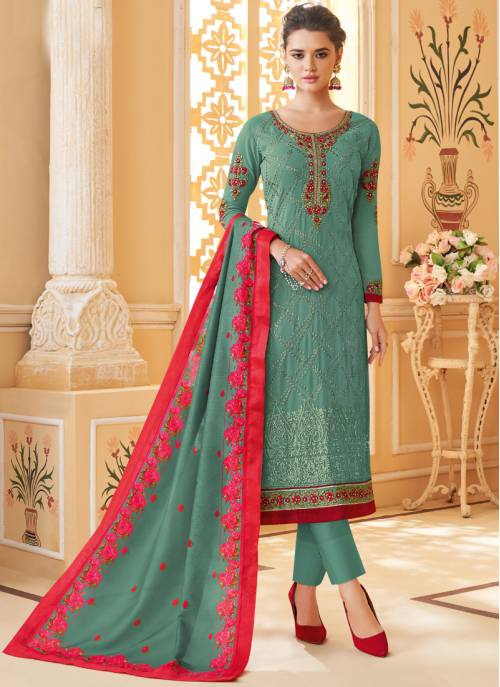 Sky Blue Georgette Embroidered Readymade Straight Suit
