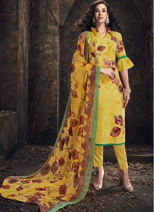Craftsvilla Yellow Cotton Printed Semi-stitched Salwar Suit