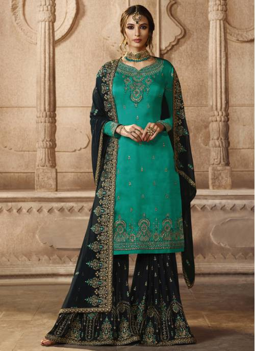 Sky Blue Georgette Embroidered Unstitched Sharara Suit