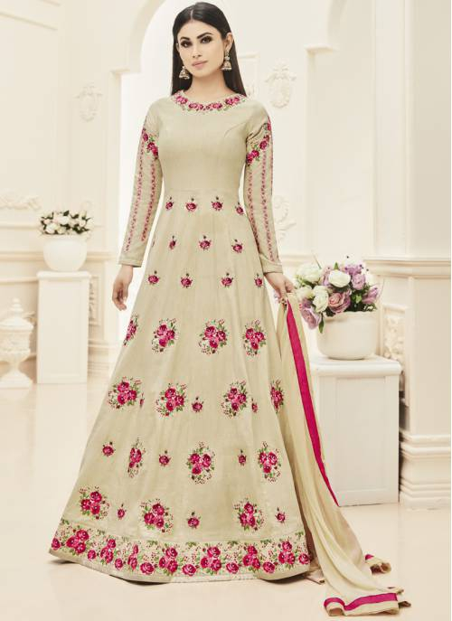 Craftsvilla Beige Color Silk Embroidered Circular Semi-stitched Anarkali Suit