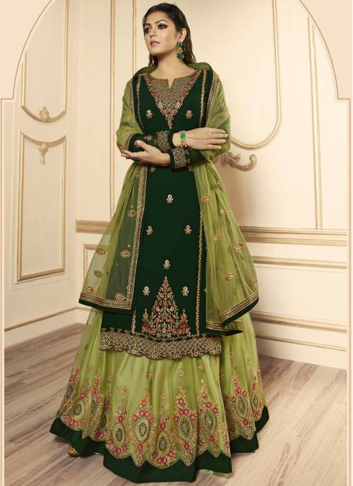 Green Georgette Embroidered Semi-stitched Straight Suit