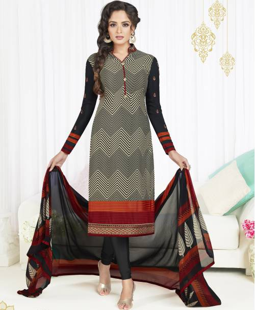 Craftsvilla Multicolor Crepe Embroidered Semi-stitched Salwar Suit