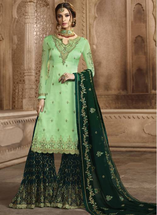 Green Georgette Embroidered Unstitched Sharara Suit