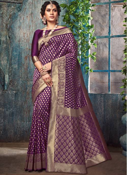 Purple Silk Designer Woven Saree With Unstitched Blouse Material