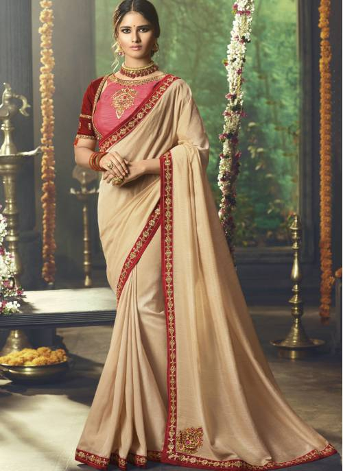 Craftsvilla Beige Silk Designer Lace Work Saree With Unstitched Blouse Piece