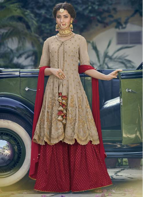 Craftsvilla Beige Georgette Embroidered Readymade Palazzo Suit