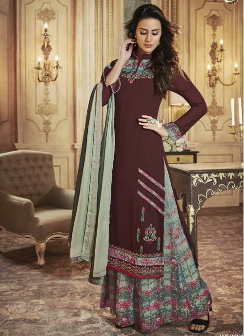 Craftsvilla Brown Georgette Printed Semi-stitched Palazzo Suit