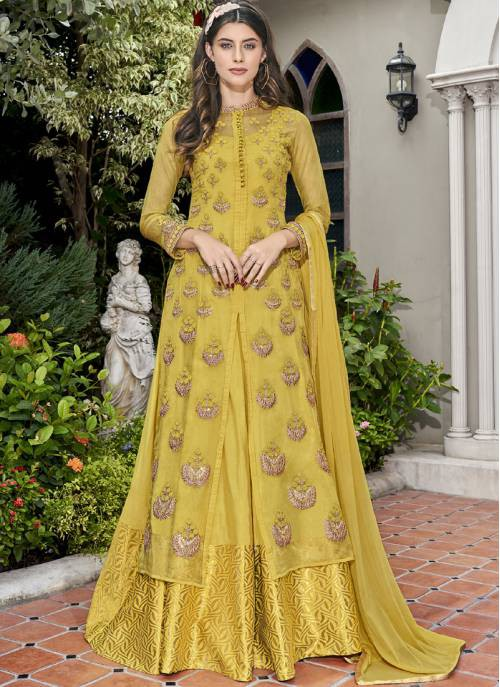 Yellow Tissue Embroidered Semi-stitched Straight Suit