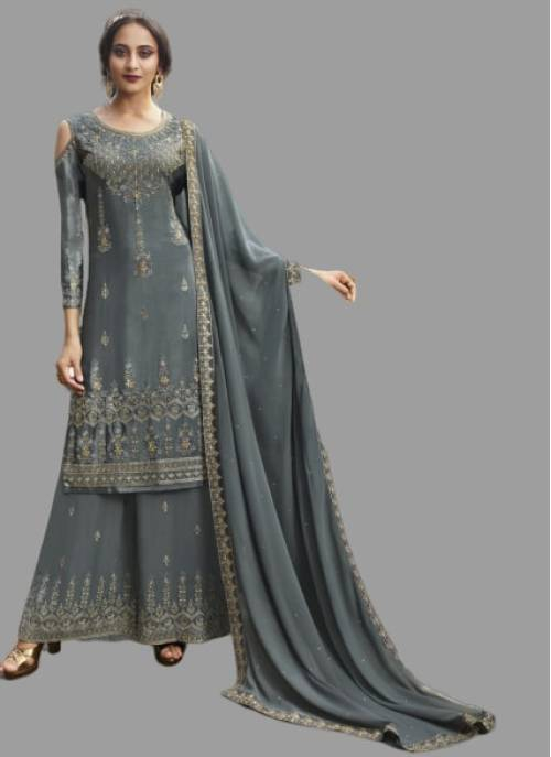 Grey Georgette Embroidered Semi-stitched Palazzo Suit
