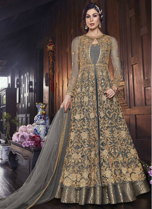 Grey Net Embroidered Circular Semi-stitched Anarkali Suit