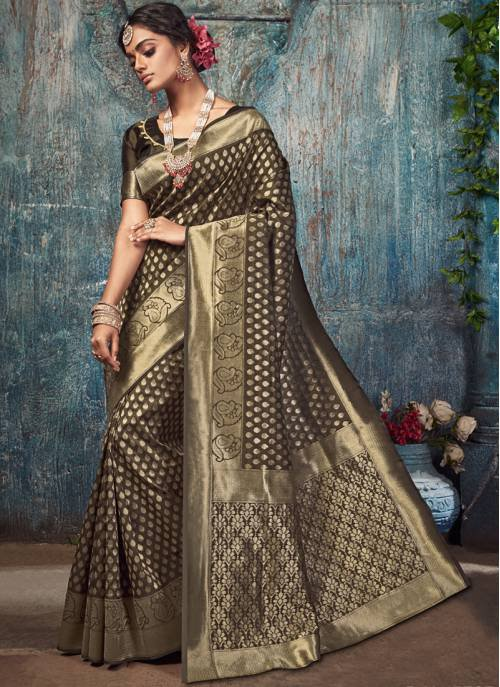 Brown Silk Designer Woven Saree With Unstitched Blouse Material
