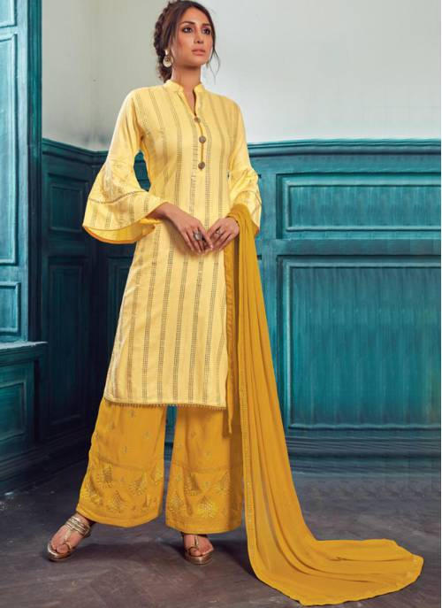 Yellow Satin Embroidered Semi-stitched Straight Suit