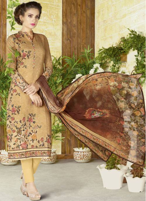 Craftsvilla Beige Color Cotton Printed Semi-stitched Straight Suit