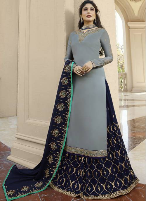 Grey Georgette Embroidered Suit With Lehenga And Churidar