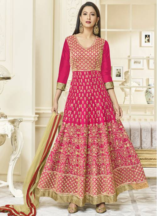 4999ff45d5d Buy Craftsvilla Pink Color Silk Embroidered Circular Semi-stitched Anarkali  Suit Online