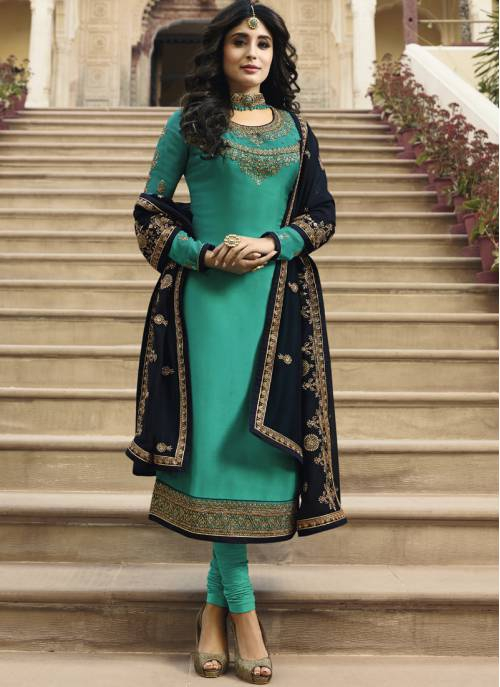 Sky Blue Georgette Embroidered Unstitched Churidar Suit