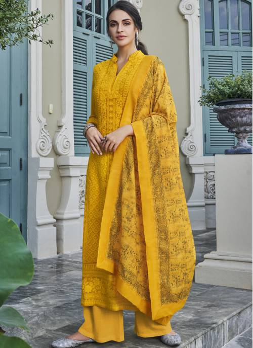 Yellow Georgette Embroidered Readymade Palazzo Suit