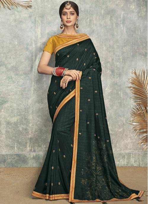 Green Silk Blend Lace Work Designer Saree With Unstitched Blouse Material