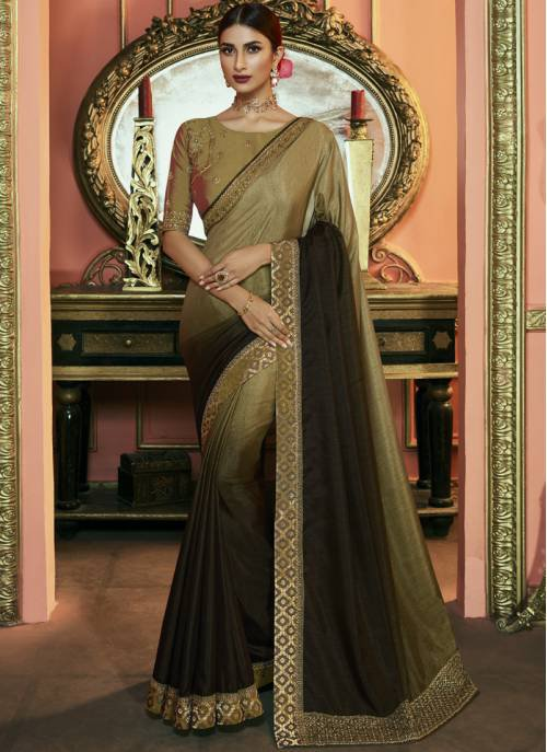 Beige Silk Designer Embroidered Saree With Unstitched Blouse Material