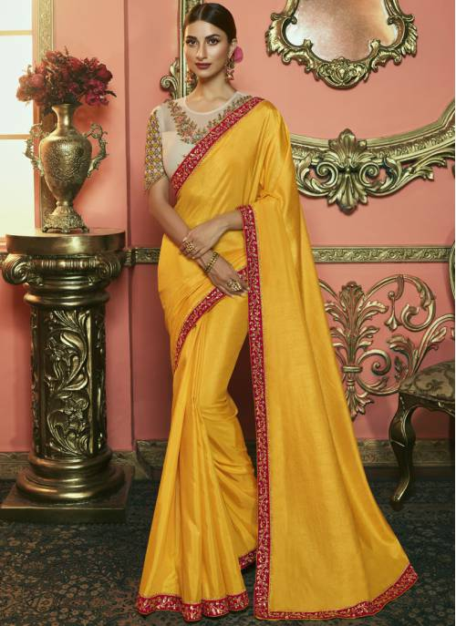 Yellow Silk Designer Embroidered Saree With Unstitched Blouse Material