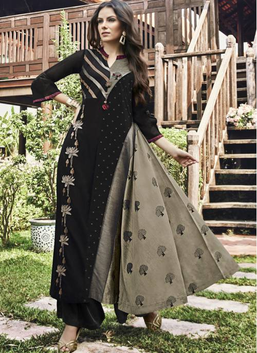 Black Jacquard Embroidered Circular Floor Length Kurti