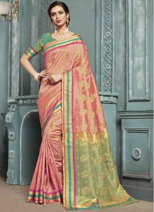 Peach Silk Designer Solid Saree With Unstitched Blouse Material