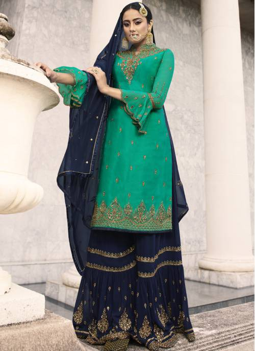 Blue Georgette Embroidered Semi-stitched Palazzo Suit