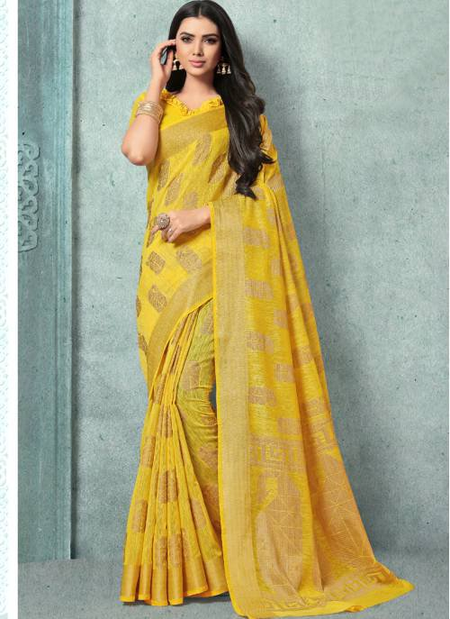 Craftsvilla Yellow Jute Designer Saree With Unstitched Blouse Material