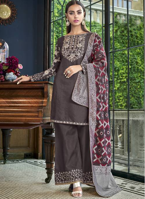 Grey Silk Embroidered Semi-stitched Palazzo Suit