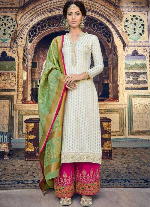 Craftsvilla Off White Jacquard Embroidered Semi-stitched Straight Suit