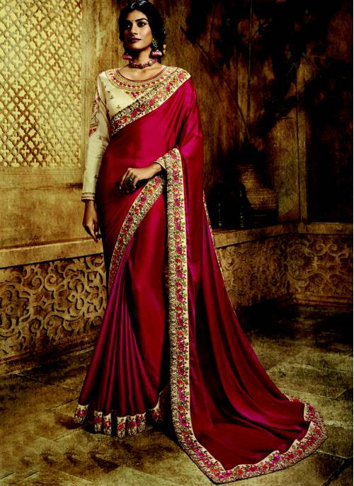 Craftsvilla Red Silk Designer Embroidered Saree With Unstitched Blouse Material