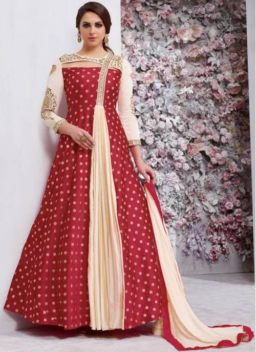 Craftsvilla Maroon And Beige Color Silk Embroidered Semi-stitched Circular Anarkali Suit