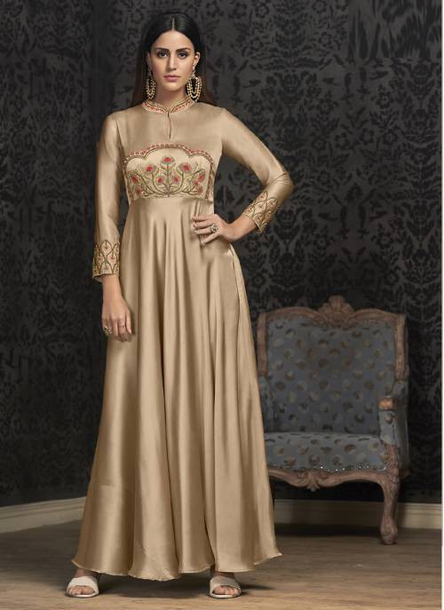 Craftsvilla Beige Georgette Embroidered Readymade Circular Gown