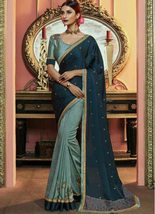 Blue Silk Designer Embroidered Saree With Unstitched Blouse Material