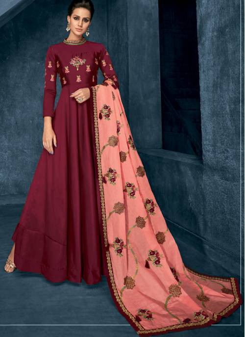 Craftsvilla Maroon Silk Embroidered Readymade Circular Anarkali Suit