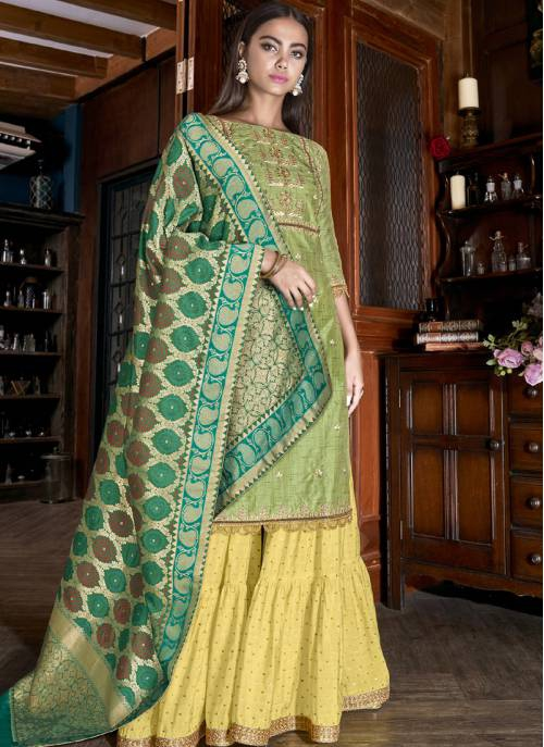 Green Silk Embroidered Semi-stitched Palazzo Suit