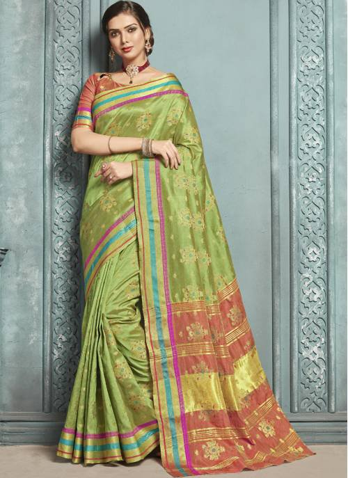 Green Silk Designer Solid Saree With Unstitched Blouse Material
