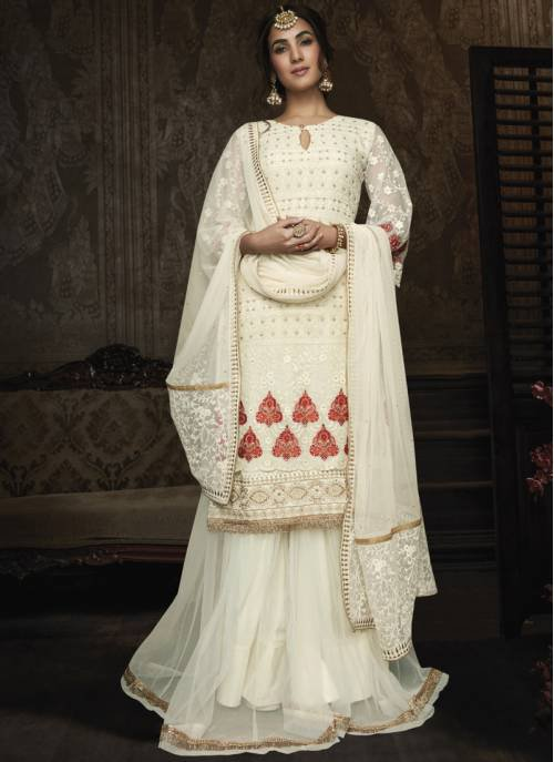 Off White Georgette Embroidered Semi-stitched Sharara Suit