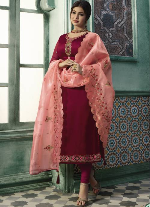 Craftsvilla Maroon Georgette Embroidered Semi-stitched Straight Suit