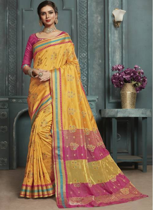 Yellow Silk Designer Solid Saree With Unstitched Blouse Material