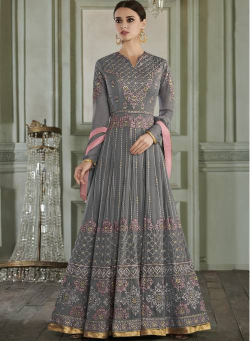 Craftsvilla Grey Embroidered Circular Semi-stitched Anarkali Suit