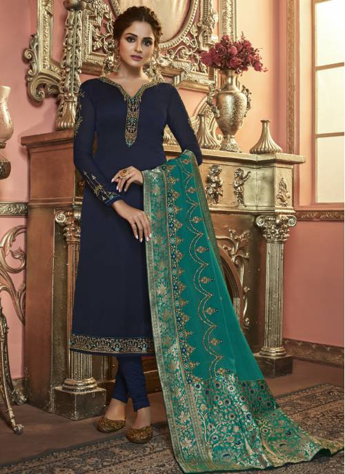 Navy Blue Georgette Embroidered Semi-stitched Salwar Suit