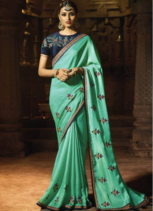 Craftsvilla Sky Blue Color Silk Designer Lace Work Saree