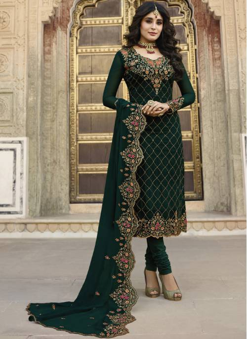 Green Georgette Embroidered Unstitched Churidar Suit