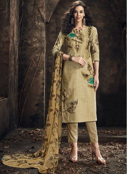 Craftsvilla Beige Cotton Printed Semi-stitched Salwar Suit