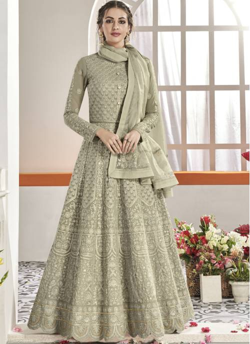 Grey Georgette Embroidered Circular Semi-stitched Anarkali Suit